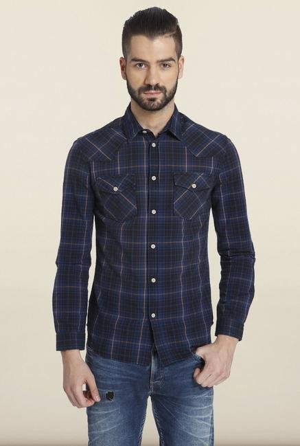 Jack & Jones Navy Checks Cotton Casual Shirt