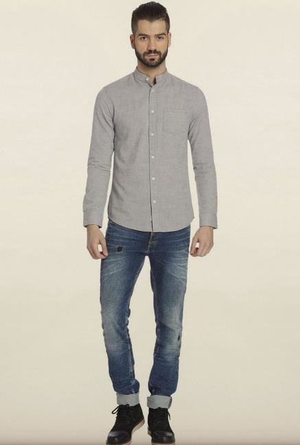Jack & Jones Light Grey Solid Casual Shirt