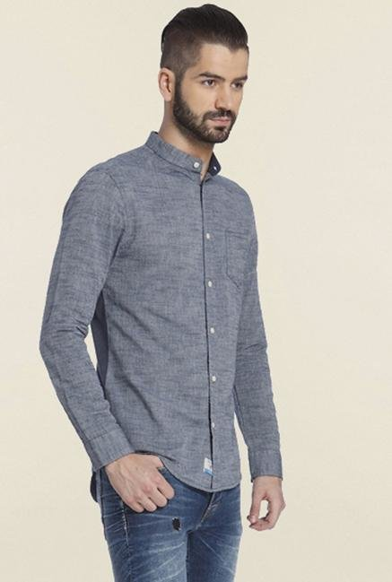 Jack & Jones Grey Solid Cotton Casual Shirt