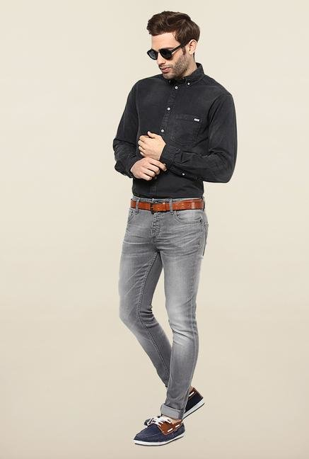Jack & Jones Grey Solid Slim Fit Jeans