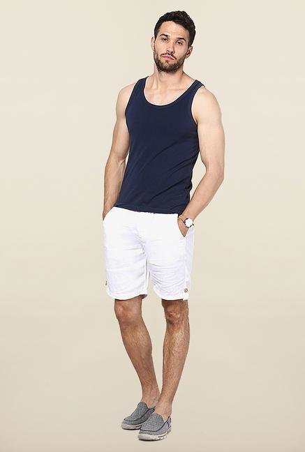 Jack & Jones White Solid Shorts