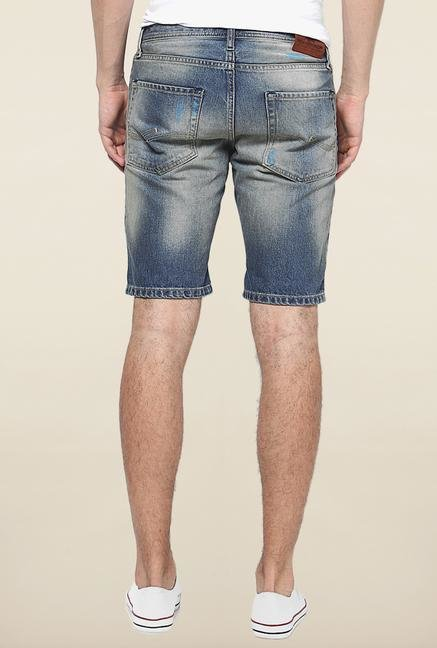 Jack & Jones Blue Solid Cotton Shorts
