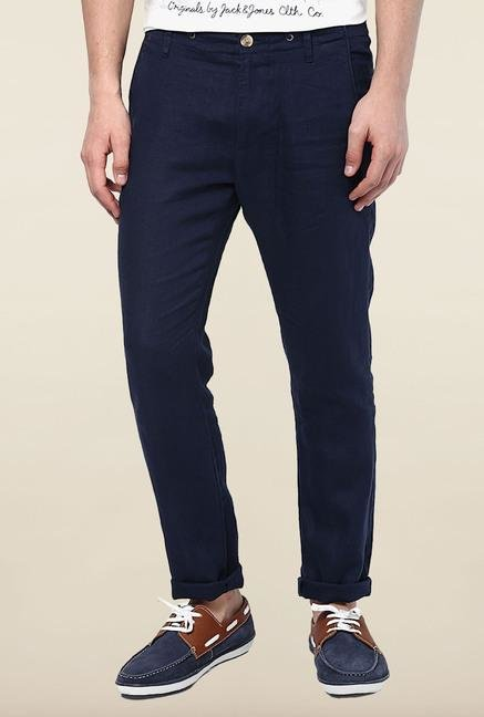 Jack & Jones Navy Linen Casual Trousers