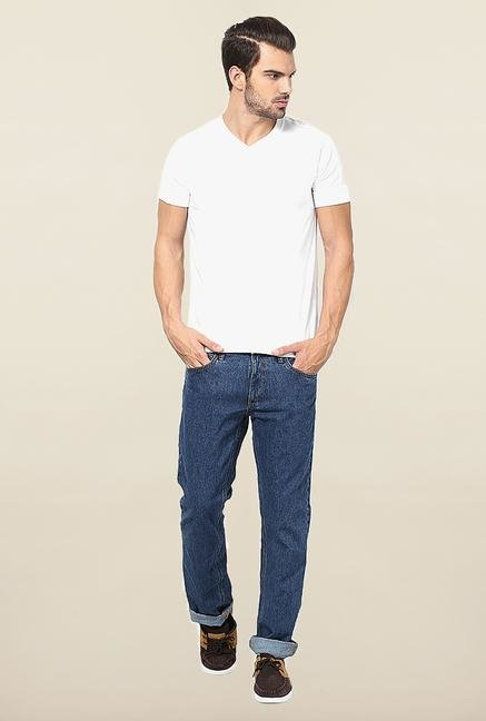 Jack & Jones Blue Solid Regular Fit Jeans