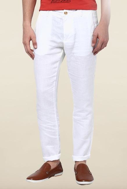 Jack & Jones White Linen Casual Trouser