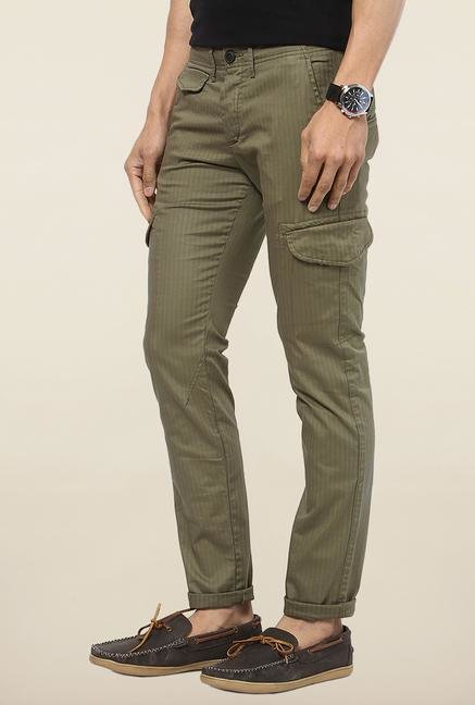 Jack & Jones Green Striped Cargo