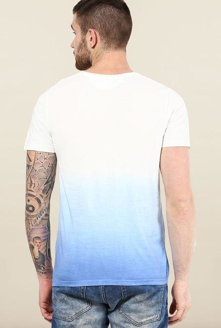Jack & Jones White Ombre Crew Neck T-Shirt