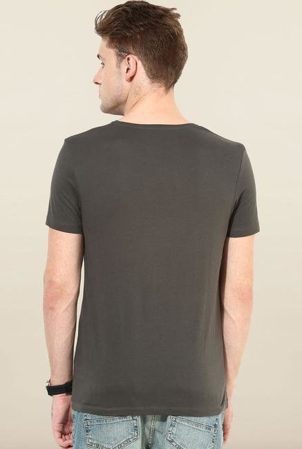 Jack & Jones Black Round Neck Printed T-Shirt