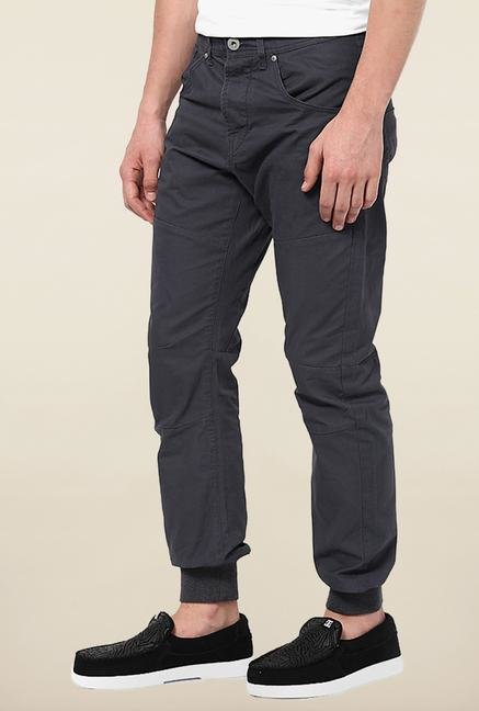 Jack & Jones Black Solid Cotton Chinos