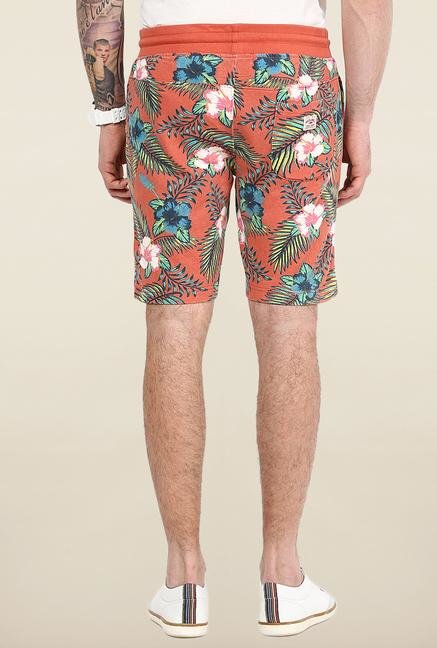 Jack & Jones Orange Printed Shorts