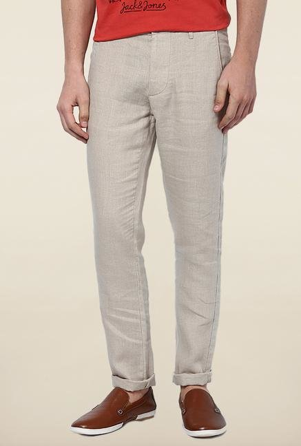 Jack & Jones Beige Linen Casual Trouser