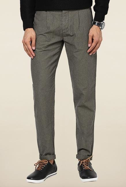 Jack & Jones Grey Striped Casual Trouser