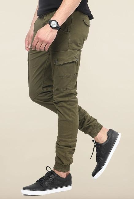 Jack & Jones Green Solid Cotton Cargo