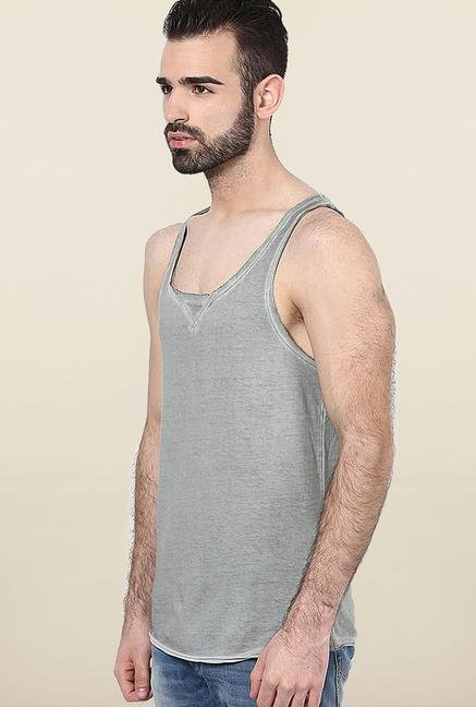 Jack & Jones Grey Solid Sleeveless Vest
