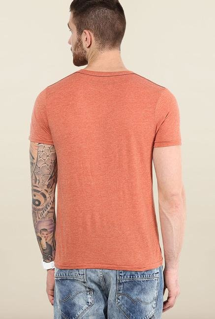 Jack & Jones Orange Round Neck T-Shirt
