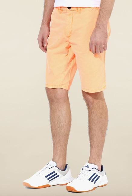 Jack & Jones Orange Solid Cotton Shorts