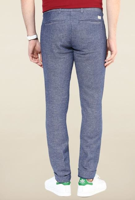Jack & Jones Blue Solid Casual Trouser