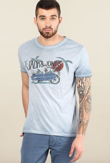 Jack & Jones Blue Short Sleeves Printed T-Shirt