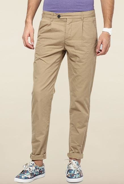 Jack & Jones Beige Pleated Chinos