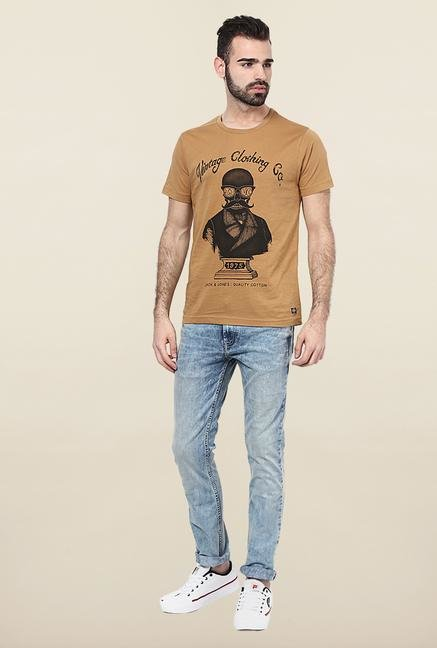 Jack & Jones Brown Round Neck Printed T-Shirt