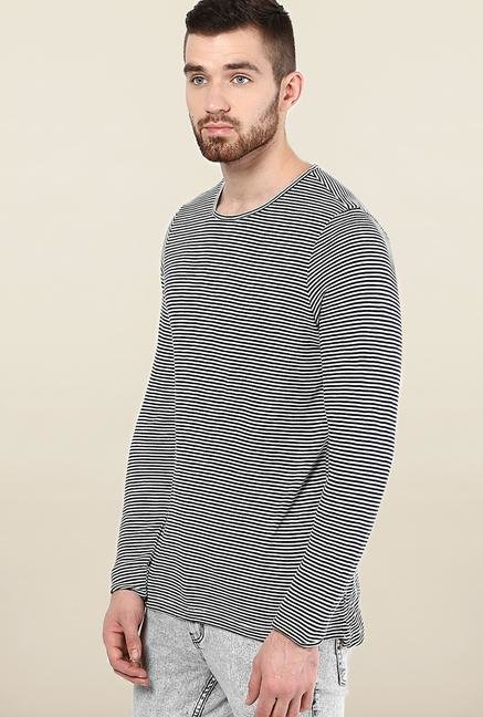 Jack & Jones Black & White Striped T-Shirt