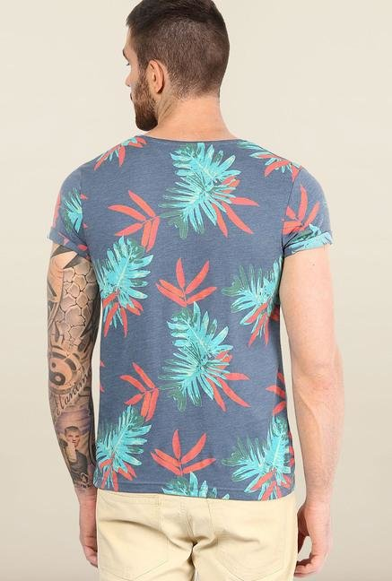 Jack & Jones Blue Round Neck Printed T-Shirt