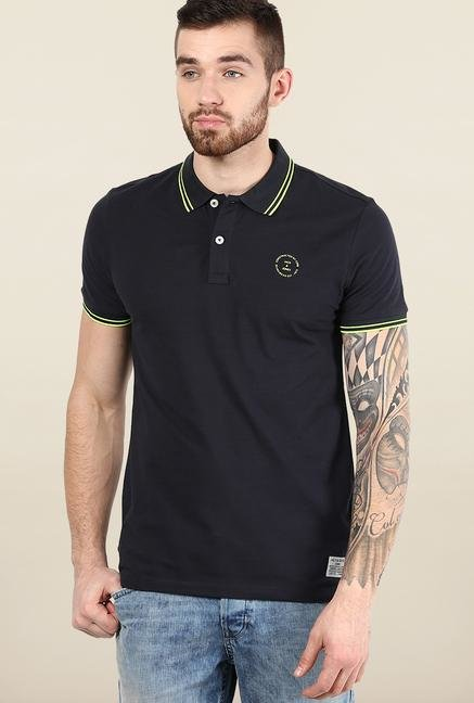 Jack & Jones Black Solid Polo T-Shirt