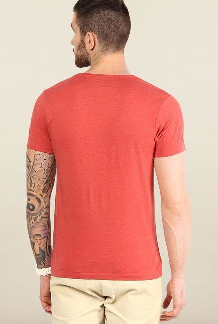 Jack & Jones Red Round Neck Solid T-Shirt