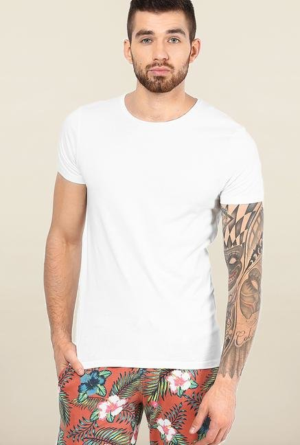 Jack & Jones White Solid Cotton T-Shirt