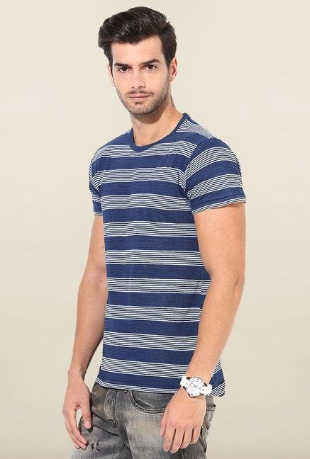 Jack & Jones Blue Striped Cotton T-Shirt