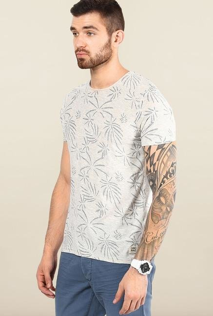 Jack & Jones Grey Round Neck Printed T-Shirt