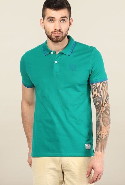 Jack & Jones Green Solid Polo T-Shirt