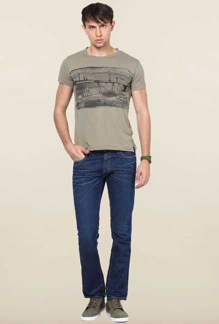 Jack & Jones Grey Printed Cotton T-Shirt