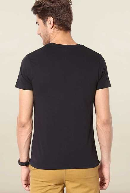 Jack & Jones Black Cotton Crew Neck T-Shirt