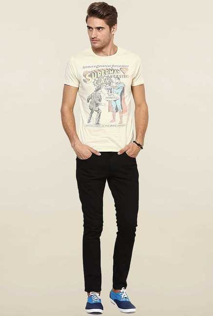 Jack & Jones Peach Printed Crew Neck T-Shirt