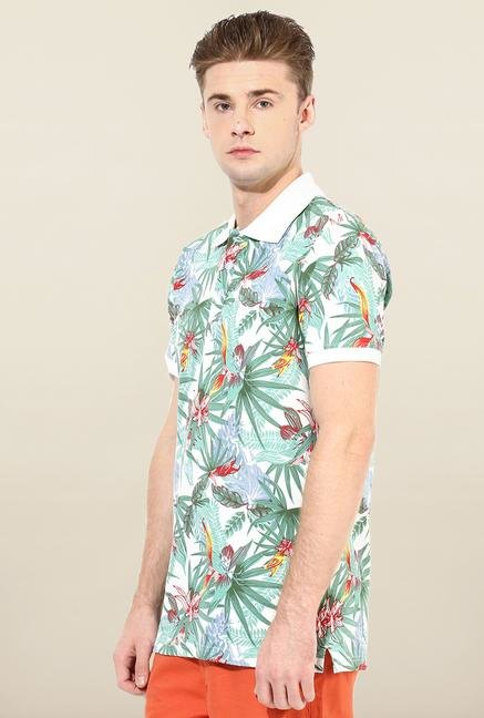 Jack & Jones Multicolor Floral Printed Polo T-Shirt