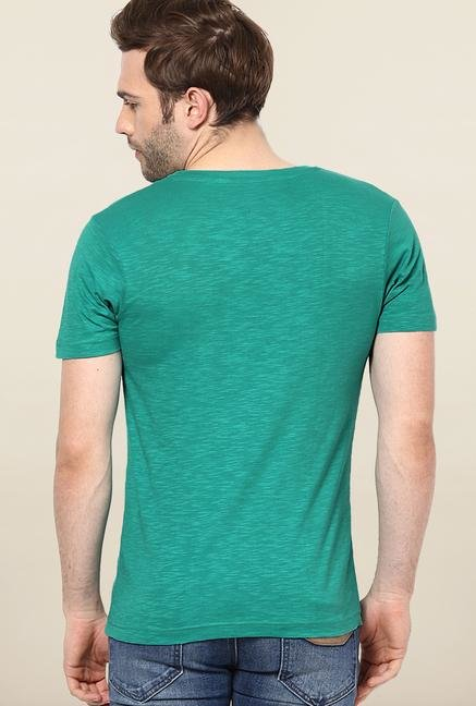 Jack & Jones Green Round Neck Printed T-Shirt