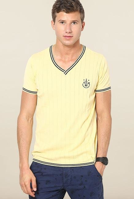 Jack & Jones Yellow Striped V-Neck T-Shirt
