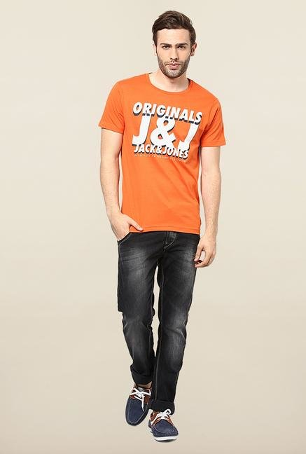 Jack & Jones Orange Round Neck Printed T-Shirt