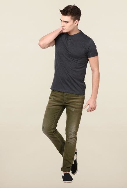 Jack & Jones Green Distressed Slim Fit Jeans