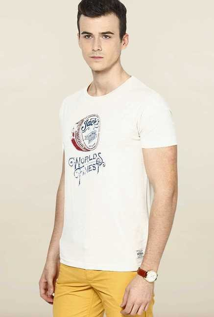 Jack & Jones White Round Neck Cotton T-Shirt