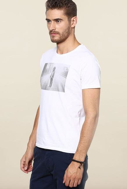 Jack & Jones White Printed Round Neck T-Shirt
