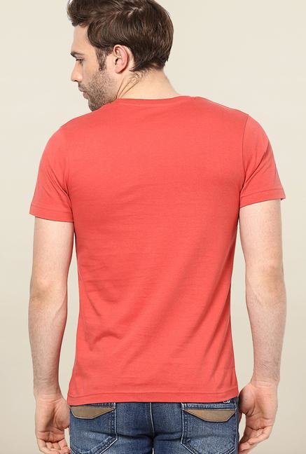 Jack & Jones Red Printed Cotton T-Shirt