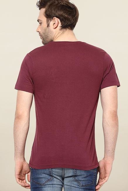 Jack & Jones Maroon Round Neck Printed T-Shirt