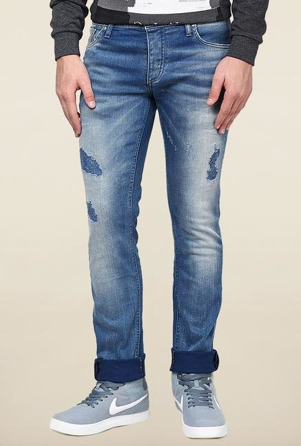 Jack & Jones Blue Mid Rise Distressed Jeans