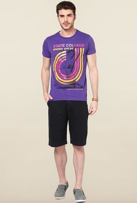 Jack & Jones Violet Printed Cotton T-Shirt