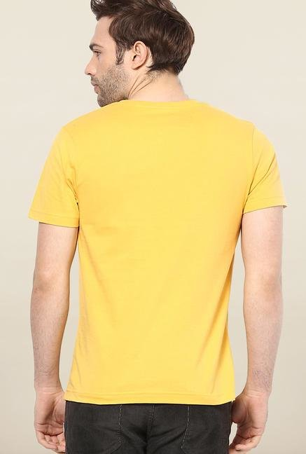 Jack & Jones Yellow Round Neck Printed T-Shirt