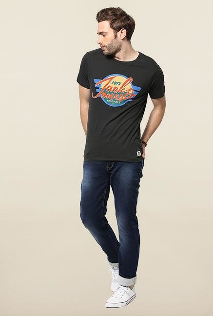 Jack & Jones Black Round Neck Cotton T-Shirt