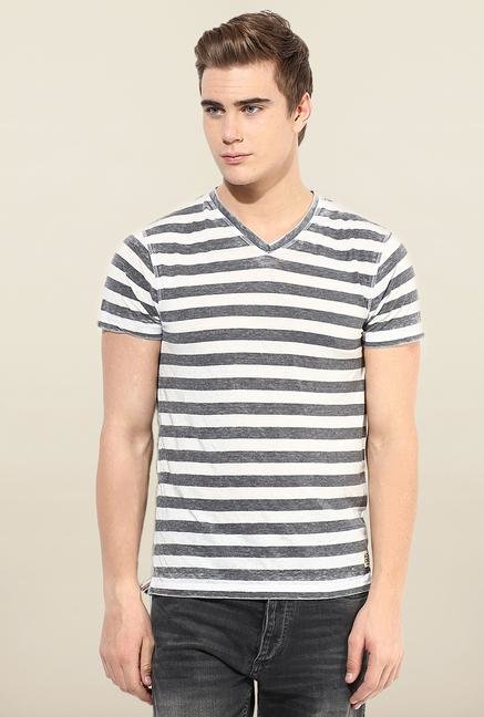 Jack & Jones Black & White V-Neck T-Shirt