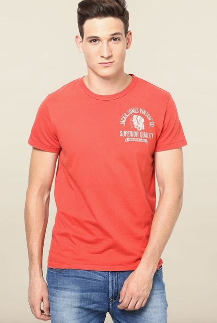 Jack & Jones Orange Round Neck Cotton T-Shirt